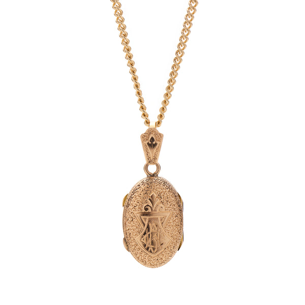 Antique Edwardian 14kt Engraved Locket