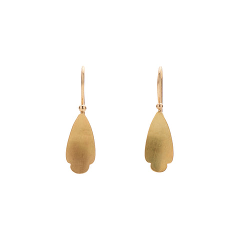Gabriella Kiss 18k Tiny Pear Shaped Scallop Earrings