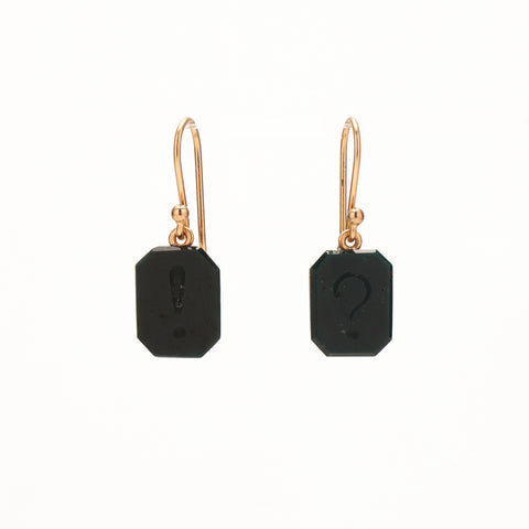 "Gabriella Kiss 14k Carved ""?!"" Bloodstone Earrings"