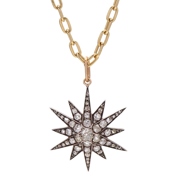 Antique Victorian 15k Gold, Silver and  2.85ct Diamond Star Pendant