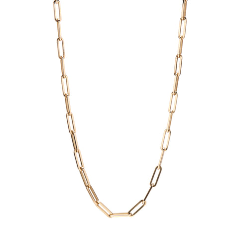 Stephanie Windsor 14k Gold Solid Paperclip Chain Necklace