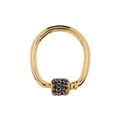 Marla Aaron 18k Yellow Gold Stoned Sapphire Trundle Lock & Ring