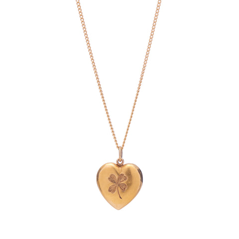 Antique 14k Clover Engraved Heart Pendant