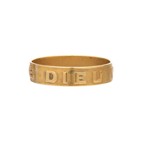 "Antique French 18k Gold ""Dieu Vous Garde"" Ring"