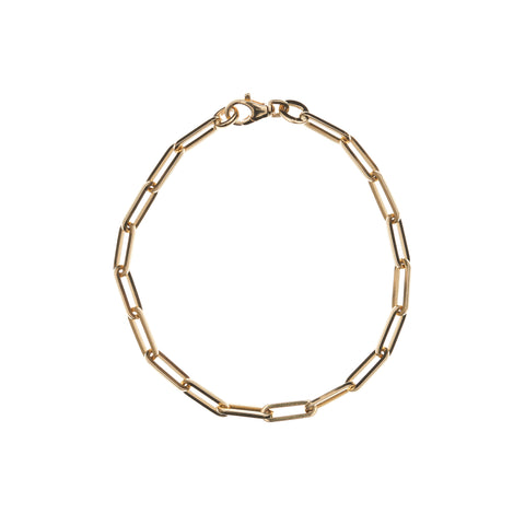 Stephanie Windsor 14k Gold Solid Paperclip Chain Bracelet