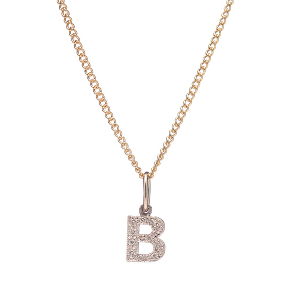 "Vintage 14k White Gold Pave Diamond ""B"" Pendant"