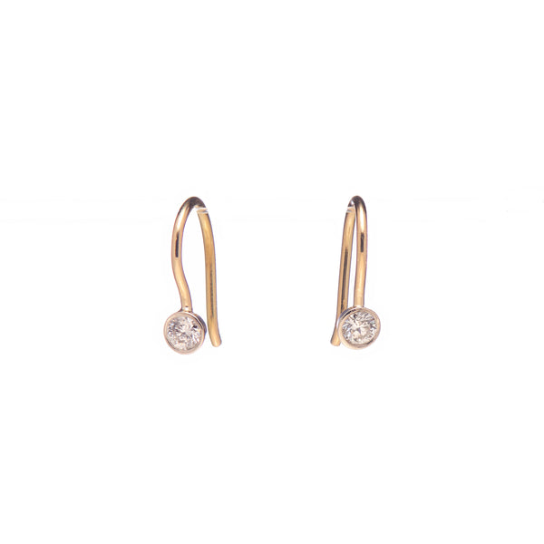 14k Bezel Set Antique Diamond Hook Earrings
