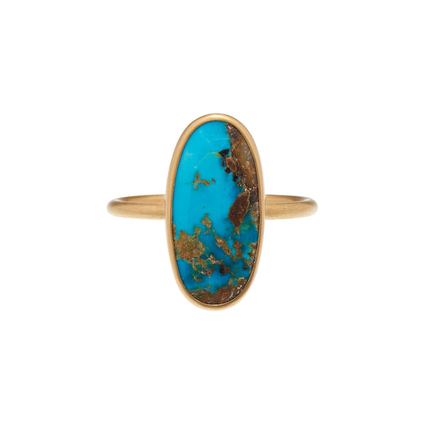 Gabriella Kiss 18k Oval Persian Turquoise Ring in Clean Bezel
