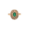 Antique 1920's Platinum, 14k Gold, Diamond & Emerald Ring
