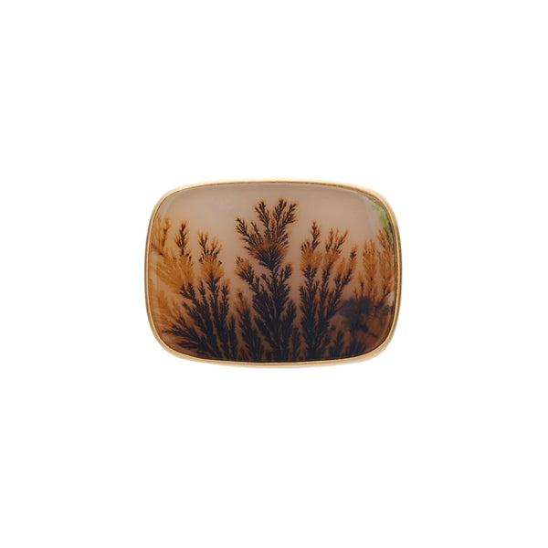 Gabriella Kiss 18k Rectangular Landscape Dendritic Agate Ring