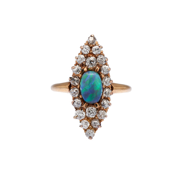Antique Edwardian 18k Diamond & Black Opal Navette Ring