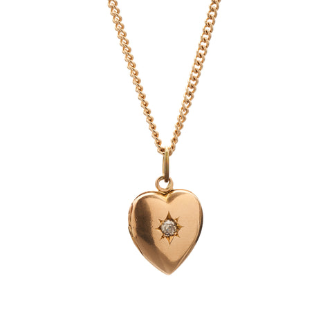 Antique 15k & Diamond Heart Locket