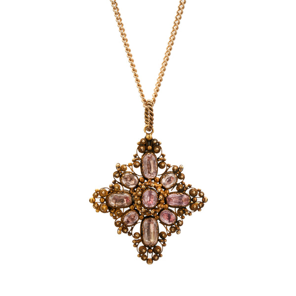 Antique Georgian 18k Pink Topaz Cannetille Pendant