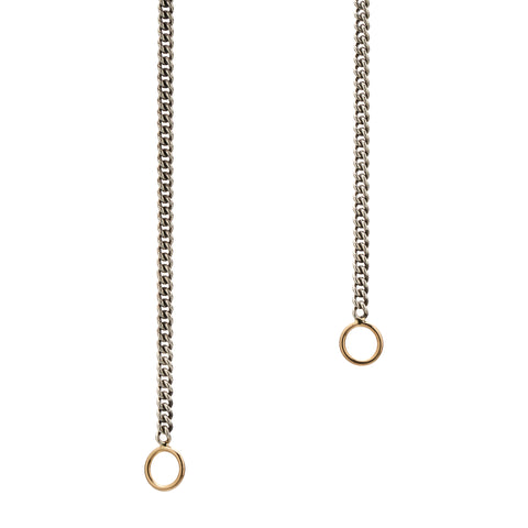 Marla Aaron Silver Not So Heavy Curb Chain with Yellow Gold Loops