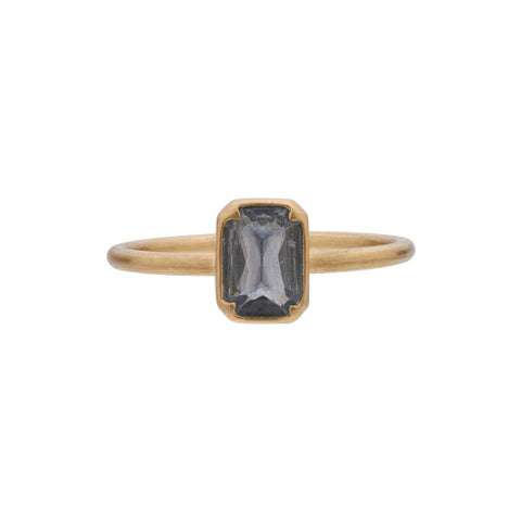 Gabriella Kiss 18k Emerald Cut Grey Blue Sapphire Ring