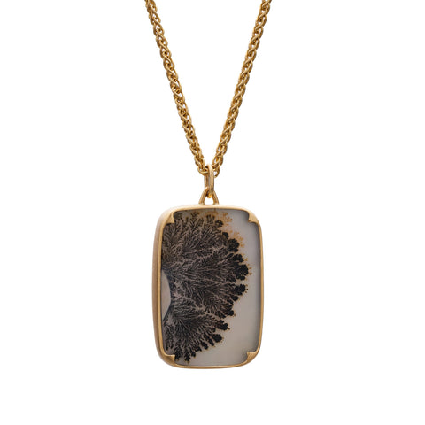 Gabriella Kiss 18k Dendritic Agate Pendant Necklace