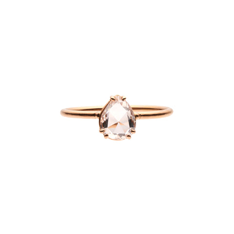 Tura Sugden 18k Rose Gold Pear Shaped Pink Diamond Solitaire -  .83ct