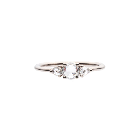 Tura Sugden 18k White Gold Recycled Diamond Three Stone Ring