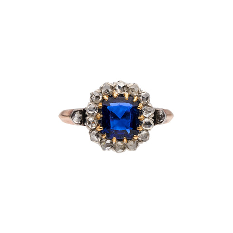 Antique French Natural 1ct Sapphire Diamond Halo Ring