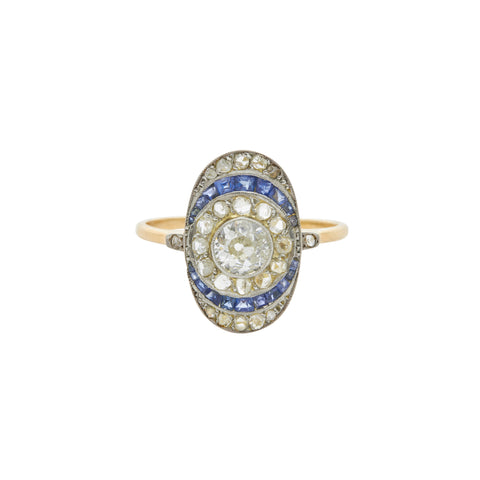 Antique French Deco 18k & Platinum Diamond & Sapphire Ring