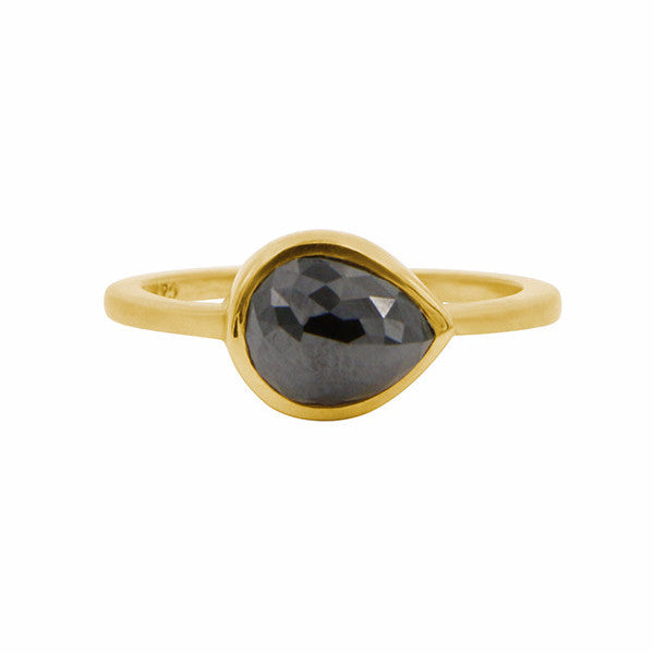 Gillian Conroy 18k Rosecut Pear Black Diamond Ring 1.50ct