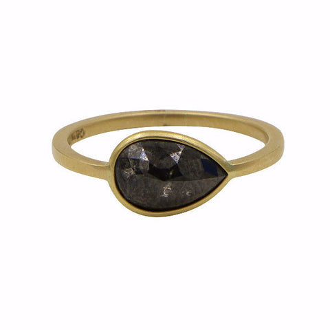 Gillian Conroy 18k Rosecut Pear Black Diamond Ring