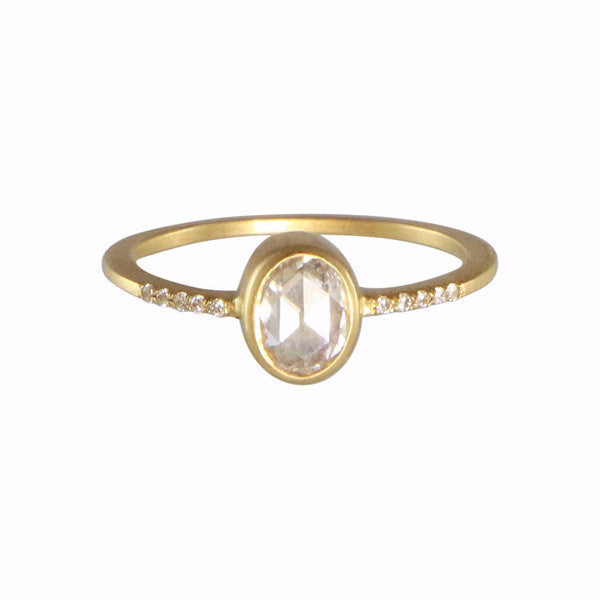 Gillian Conroy 18k Yellow Gold Ring Set with a .57ct. Oval White Diamond