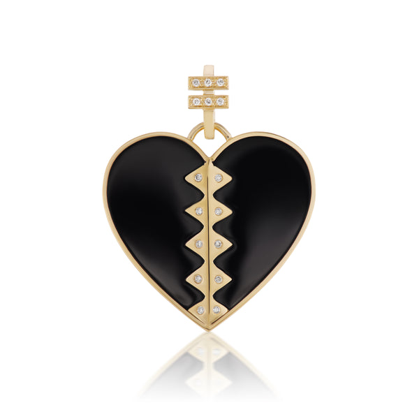 "Harwell Godfrey 18k, Black Onyx & Diamond Heart Pendant ""We Are One."""