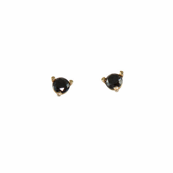 B.C.E. Jewelry 14k Three Prong Black Diamond Stud Earrings