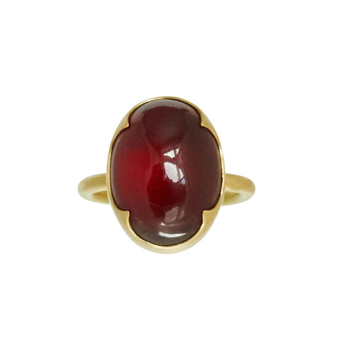 Gabriella Kiss 18k Oval Hessonite Garnet Cabochon Ring