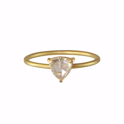Rebecca Overmann 14k White Rosecut Trillion Diamond Ring