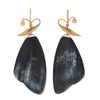 Gabriella Kiss 18k Large Horn Butterfly Wing & Sapphire Earrings