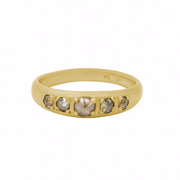 Rebecca Overmann 14k Tapered Peach Diamond Band