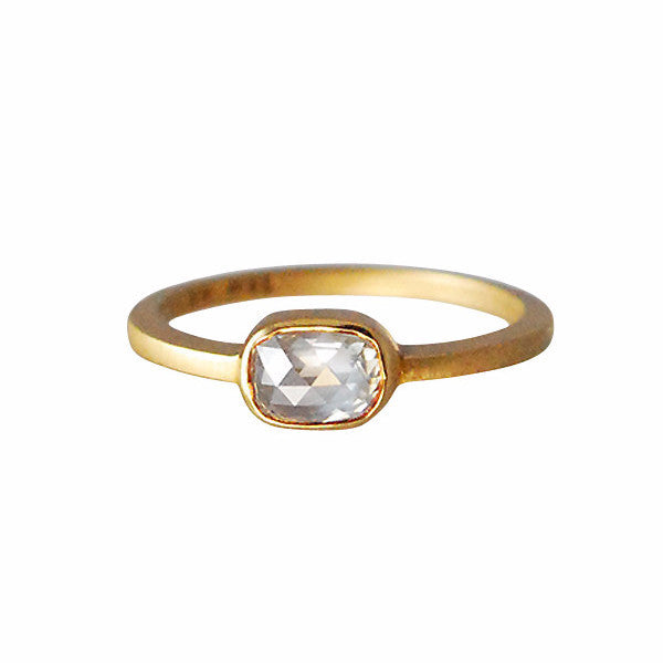 Gillian Conroy 18k Grey Cushion Cut Diamond Ring