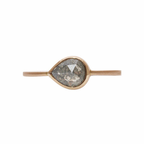 Gillian Conroy 18k Rose Gold Pear Rose Cut 0.93ct Grey Diamond Ring