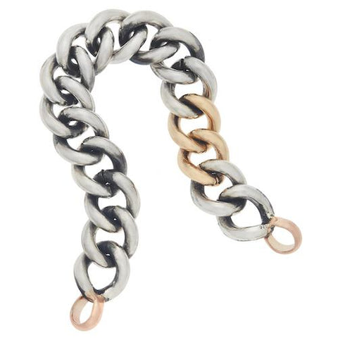Marla Aaron Sterling Silver Mega Curb Bracelet with Two Yellow Gold Links and Rose Gold Loops - 6.5""