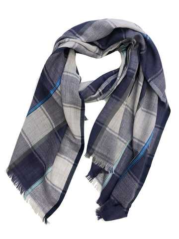 Unisex Herringbone Plaid Wrap Navy