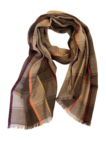 Unisex Herringbone Plaid Wrap Taupe