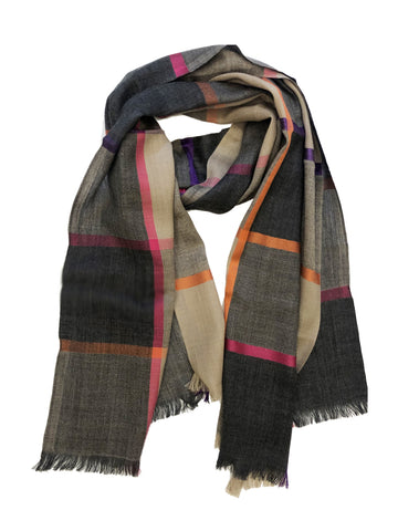 Unisex Herringbone Plaid Wrap Black/Taupe