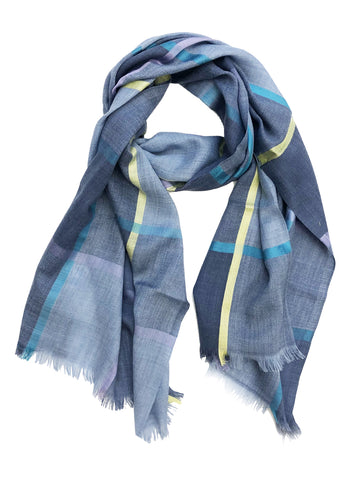 Unisex Herringbone Plaid Scarf Denim Blue