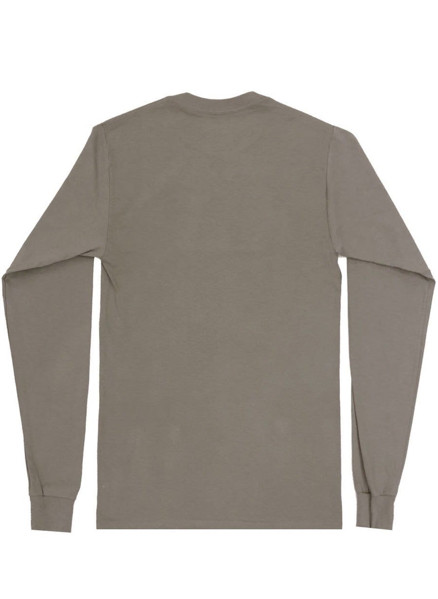 UNISEX LONG SLEEVE T-SHIRT (TAUPE/BLUE)