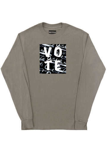 VOTE LONG SLEEVE T-SHIRT (TAUPE)