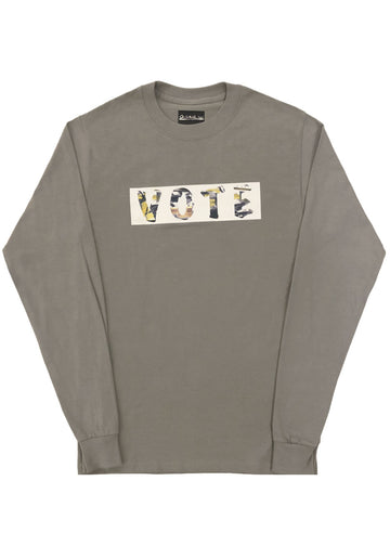 VOTE LONG SLEEVE T-SHIRT (TAUPE/ YELLOW)
