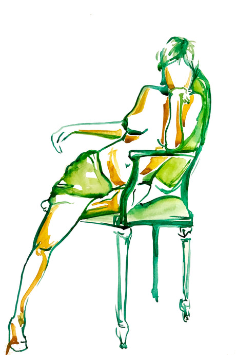 Green Seated Woman