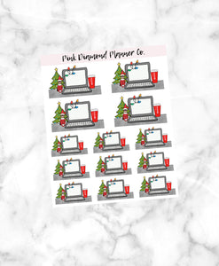 Christmas Laptop // Hand-Drawn Doodle Deco Sheets