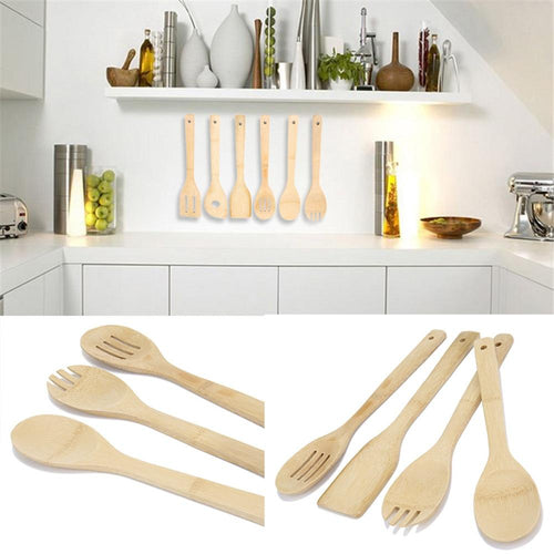 Bamboo Non-stick Wood Spatula Set (6 pieces)