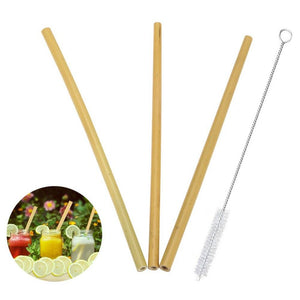 Eco-Friendly Bamboo Drinking Straws with Cleaning Brush