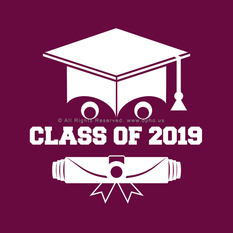 Class of 2019 Smiling Grad Hat and Scroll