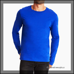 Mens Long Sleeve Crew Tee Sample Blue