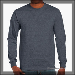 Mens Ultra Cotton Long Sleeve Tee Grey Front